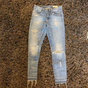 Distressed blank blue jeans (size 26)